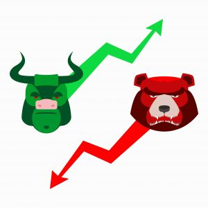 Bull and bear faces with graph lines going up and down